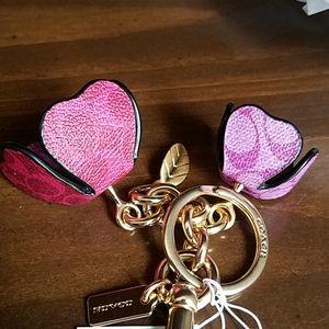 Coach Accessories - Coach Signature Tea Roses Bag Charm Magenta